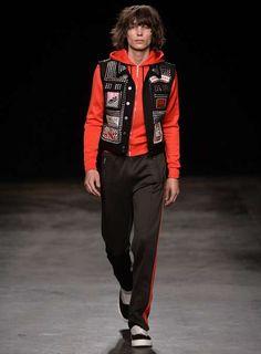 Red zip hoodie Zip Hoodie, Black Stripes, Bomber Jacket, Punk, Celebrities, Sleeves, Model, Red, How To Wear