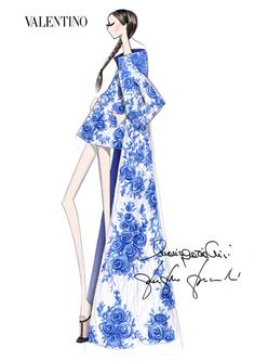 Fashion Illustration Patterns Sketch by Maria Grazia Chiuri and Pier Paolo Picciolo for Valentino Fall/Winter 2 Illustration Mode, Fashion Illustration Sketches, Fashion Design Sketches, Fashion Drawings, Design Illustrations, Arte Fashion, Moda Fashion, Ideias Fashion, Dress Fashion