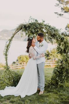 Circular greenery wedding ceremony arch