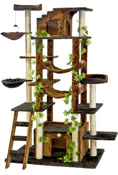 Features:  -Instruction and tools included.  -Cat tree.  -Covering material: Faux fur.  -Board material: Pressed wood.  -Posts covered by natural sisal rope.  -Color: Brown / Black.  Color: -Brown and
