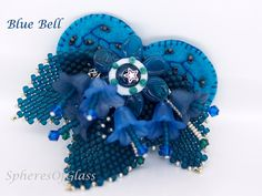 Blue Bell Handmade Felt and Lampwork Bead Brooch от spheresofglass