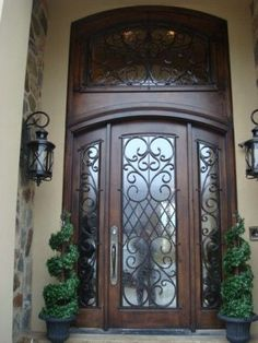 Front door entrance - Tuscan home Entrance Design, Entrance Doors, Door Design, House Design, Entrance Ideas, Grand Entrance, Door Entryway, Tuscan House, Tuscan Decorating