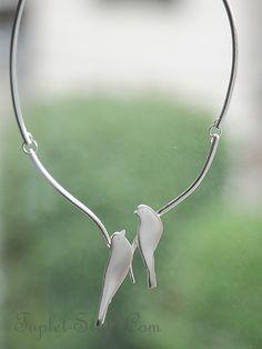 ■フランス ドルチェ・ヴィータ カップルバードのネックレス シルバー [TP16-NDV31208]