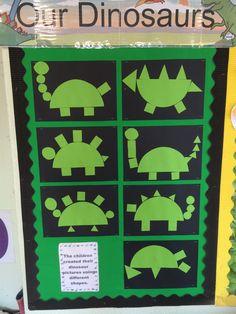 Dinosaur pictures using shape. Dinosaur Classroom, Dinosaur Theme Preschool, Dinosaur Activities, Dinosaur Crafts, Toddler Activities, School Age Activities, Preschool Lessons, Classroom Activities, Preschool Crafts