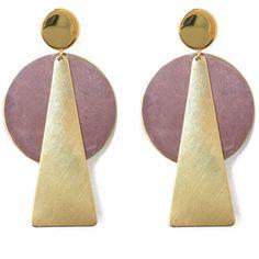 History + Industry Mauve Taurus Earrings By History + Industry (6.220 ISK) ❤ liked on Polyvore featuring jewelry, earrings, geometric stud earrings, studded jewelry, triangle jewelry, round earrings and geometric earrings