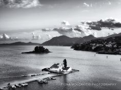 CHURCH OF THE ISLE. Pontikonisi and Vlacheraina monastery Corfu Greece. Visit Greece, Corfu Greece, Greece Islands, Small Island, Black And White Photography, Waves, Outdoor, Black White Photography, Outdoors