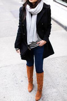 Little Black Peacoat - Saks peacoat // Joie sweater // J Brand jeans Alexander Wang beanie // Gigi New York clutch Sergio Rossi boots // White + Warren scarf Monday, January 25, 2016