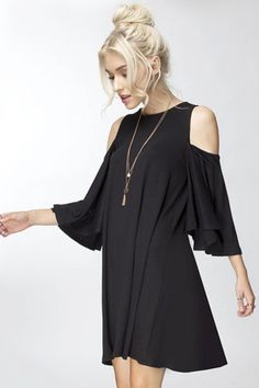 Chic and flirty swing dress features a cold shoulder sleeve, beautiful ruffle sleeves and adorable swing fit. Make it casual with leggings and good or dress up with stiletto. Content + Care: 96% Rayon