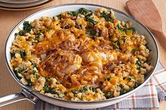 Discover the tastiness of One-Pan Chicken & Stuffing with Caramelized Onions! This one-pan chicken with kale dish can be part of your Healthy Living meal.