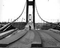 The Tacoma Narrows Bridge failing in 1940. This man was the last to drive across. He abandoned his car and tried to rescue his pet cocker spaniel from the back seat, but the dog would have nothing of it. The bridge collapsed seconds after the man reached safety, with the dog as the only casualty.