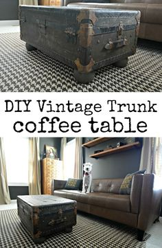 Learn how to turn a vintage trunk into a coffee table.  Easy DIY project!