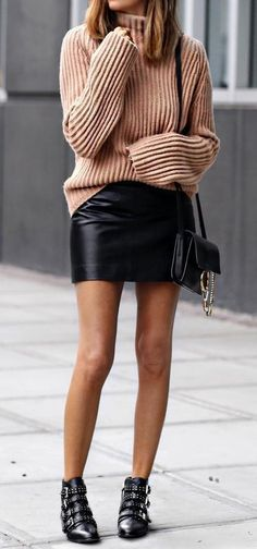 #outfit #ideas ·  Pink Wool Sweater // Leather Skirt // Ankle Boots