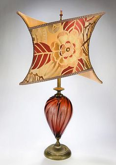 Joanna: Caryn Kinzig and Susan Kinzig: Mixed-Media Table Lamp - Artful Home. Another blown glass body with an embroidered dupioni silk shade - with an incredible shape! I want to replace my bedside lamps with these!