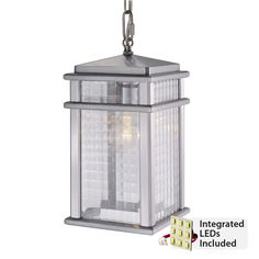 One light pendant with integrated LED lights included! From Murray Feiss available in Brushed Aluminum. Hanging Lantern Lights, Lantern Light Fixture, Outdoor Ceiling Lights, Outdoor Hanging Lanterns, Porch Lighting, Lantern Pendant, Light Pendant, Outdoor Lantern, Lighting Ideas