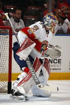 SUNRISE, FL - FEBRUARY 9: Goaltender James Reimer #34 of the Florida Panthers warms up on the ice against the Los Angeles Kings at the BB&T Center on February 9, 2017 in Sunrise, Florida. (Photo by Eliot J. Schechter/NHLI via Getty Images)