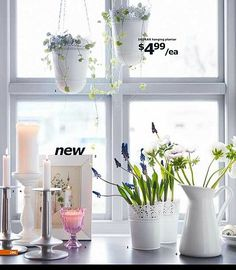 13 Smart Decorating Ideas From theb2012 Ikea Catalog  Mix cut flowers with potted bulbs