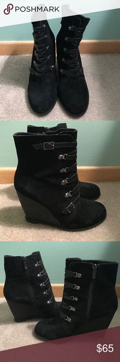 Black BCBG suede booties Suede booties from BCBG with leather detailing up the front, side zipper. Only worn a few times, great condition!!! BCBGeneration Shoes Ankle Boots & Booties
