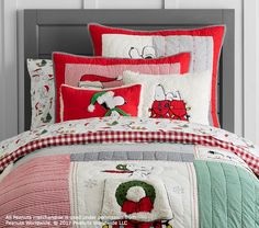 Peanuts® Holiday Quilt || Snoopy Christmas || Pottery Barn || Our butter Halves favorite