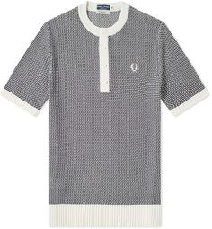Fred Perry Authentic Reissues Two Colour Knit Button Neck Fred Perry, Navy And White, Tees, Shirts, Sportswear, Buttons, Mens Fashion, Colour, Knitting