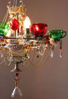 Totally recycled chandelier.