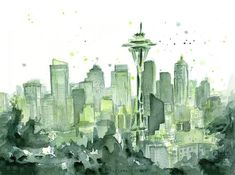 Hey, I found this really awesome Etsy listing at https://www.etsy.com/listing/237058827/seattle-watercolor-painting-art-print