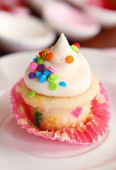 Mini Funfetti Cupcakes. Best homemade vanilla cupcake recipe ever.