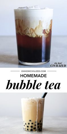 Yes, bubble tea can be made at home! A delicious bubble tea recipe made with black tea, chewy tapioca balls, and topped with a decadent cream froth. Milk Tea Recipes, Coffee Drink Recipes, Starbucks Recipes, Low Carb Starbucks, Healthy Iced Coffee, Espresso Recipes, Starbucks Coffee, Cake Recipes, Bubble Tea