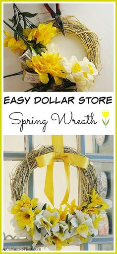 Easy Dollar Store Spring Wreath - Really easy to make with Dollar Tree stems! I used daffodils but you can use tulips or whatever other flower you like. Dollar Store Crafts| spring decorating ideas| DIY spring home decor projects