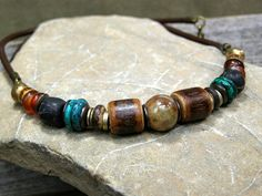Mens Leather Necklace  Guys Beaded Choker  by StoneWearDesigns