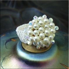 TUTORIAL  Beaded Ring Jewelry. Crystal Pearl and Black Crystal Dome Beaded Rings.