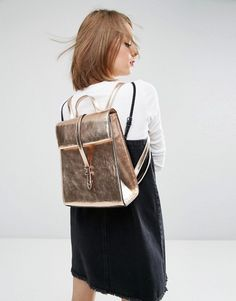 Buy ASOS Metallic Roll Top Backpack at ASOS. With free delivery and return options (Ts&Cs apply), online shopping has never been so easy. Get the latest trends with ASOS now. Asos, Top Backpacks, Leather Working, Leather Craft, Leather Backpack, Fashion Backpack, Fashion Online, Pretty, Stuff To Buy