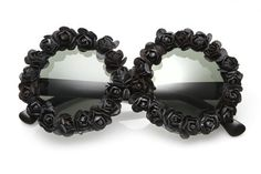 Ashley Floral Round Sunglasses (Black/Black). $38.00, via Etsy.