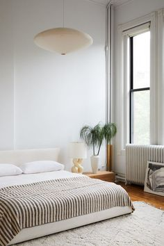 white bedroom with l
