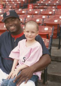 This 2004 photo of Amber DaRosa and Boston Red Sox slugger David Ortiz was widely used on billboards and banners. Today, Amber is 16-years-old and #cancer free! (Photo by Mark Ostow)