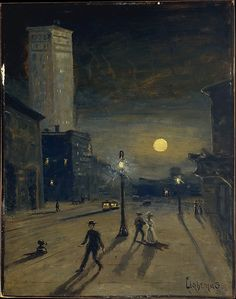 "centuriespast: "" New York at Night Louis Michel Eilshemius (American, Newark, New Jersey 1864–1941 New York) Date: ca. 1910 Medium: Oil on cardboard, mounted on Masonite the met """