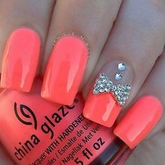 Neon Coral Acrylic Square Tip Nails w/ Rhinestones & Bow