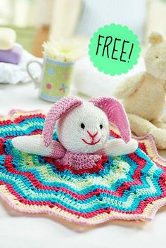 Ravelry: Bunny comforter pattern by Lynne Rowe (the blanket is crochet and the bunny head, ears & arms are knit) Crochet Lovey, Crochet Bunny, Crochet Gifts, Baby Blanket Crochet, Crochet Toys, Free Crochet, Knit Crochet, Lovey Blanket, Knitted Dolls