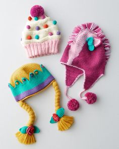 A bright dose of sunshine on chilly winter days, these crocheted hats are delightfully soft and cozy.
