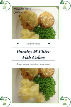 These tasty and simple fish cakes use parsley and chives to add flavor to the mixture. Herb Recipes, Entree Recipes, Vegetable Recipes, Seafood Recipes, Fish Cutlets, Herb Guide, Fish Cakes Recipe, Your Recipe, Fish And Seafood