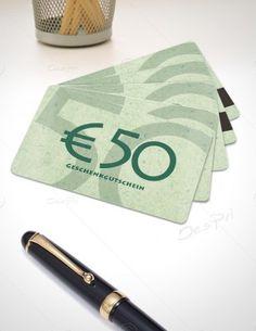 50 Euro Gutscheinkarte, Plastikkarte mit Magnetstreifen, Mino Paper, PK-FP-0002C   Gutscheine   Plastikkarten   Werbedesigns   Despri