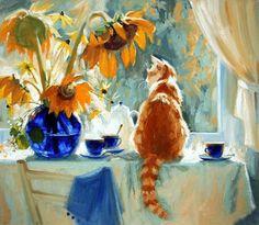 Cat in the window painting. Maria Pavlova - Sunny Day