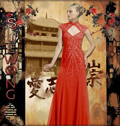 Sue Wong sleeveless gown with soutache keyhole mandarin collar and bodice… #teamsuewong #suewong #fashion #coutureinspired #picoftheday #glamorous #colorful