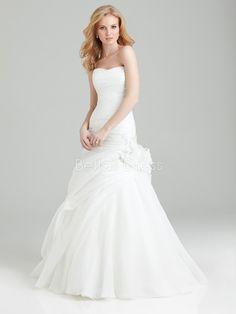 Timeless Strapless Floor Length Organza A line Dropped Waist Wedding Dress - 1300103618B - US$229.99 - BellasDress