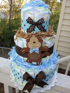Blue and brown polka dot MONKEY 3 tier diaper cake, baby shower decoration Snelson Snelson Campbell Baby Shower Diapers, Baby Shower Fun, Baby Shower Parties, Baby Shower Themes, Baby Shower Gifts, Baby Gifts, Shower Ideas, Baby Showers, Safari Diaper Cakes