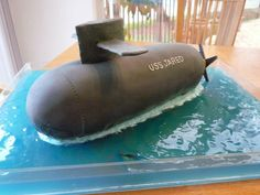 """This is a submarine cake """"USS Jared"""" that we made..."""