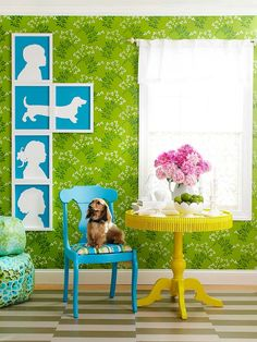 This silhouettes are made with scrapbooking foam. The dog idea is super cute! #crafts #homedecor