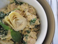 Artichoke Lemon Pesto Chicken Pasta- uses spaghetti squash. could also have it over cauli rice