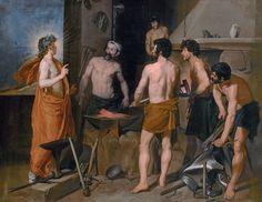 """Diego Vélasquez - La Forge de Vulcain (1630) - Huile sur toile, 223 x 290 cm - Musée du Prado, Madrid, Espagne - Le thème est emprunté aux """"Métamorphoses"""" d'Ovide (4, 171-176), et reflète le moment où Apollon, """"le dieu Soleil qui voit tout"""" révèle à Vulcain l'adultère de Vénus avec Mars dont il a été le premier informé. Vulcain, époux offensé par cette nouvelle perd à la fois """"le contrôle de lui-même & le travail qu'était en train de réaliser sa main""""."""
