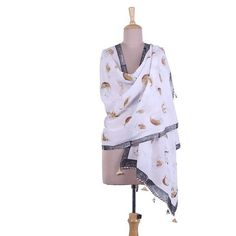 NOVICA Block Printed Cat Motif Tasseled Cotton Shawl from India (£38) ❤ liked on Polyvore featuring accessories, scarves, clothing & accessories, shawls, white, white cotton scarves, indian shawl, shawl scarves, white scarves and indian scarves
