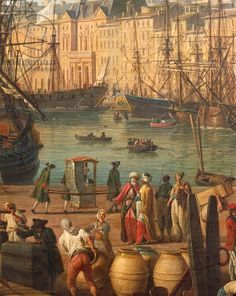 Turkish merchants, detail from 'The Port of Marseille', 1754, by Claude-Joseph Vernet (1714-1789)